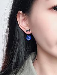 baratos -Mulheres Formato de Laço Cristal Brincos Curtos / Brincos Estilizados na Frete e Atrás - Simples / Casual / Coreano Cinzento / Azul Real