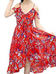 Недорогие -Девичий Платье Повседневные Пляж Хлопок Полиэстер Цветочный принт Лето Без рукавов Активный Богемный Красный