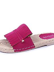 baratos -Mulheres Sapatos Camurça Verão Conforto Chinelos e flip-flops Sem Salto Ponta Redonda Preto / Fúcsia / Vermelho