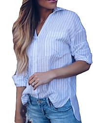 Недорогие -Жен. Блуза V-образный вырез Классический Полоски / Тонкая полоса