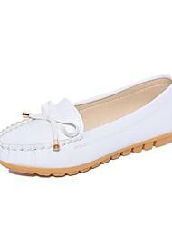 povoljno -Žene Cipele PU Proljeće Ljeto Udobne cipele Natikače i mokasinke Ravna potpetica Okrugli Toe Mašnica za Kauzalni Obala Crn Pink