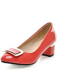 Недорогие -Жен. Обувь Лакированная кожа Весна / Лето Туфли лодочки Обувь на каблуках На толстом каблуке Круглый носок Черный / Красный / Зеленый