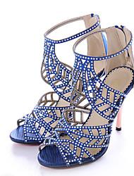 baratos -Mulheres Sapatos Tecido Verão Plataforma Básica Sandálias Salto Agulha Dedo Aberto Pedrarias para Festas & Noite Laranja Roxo Vermelho