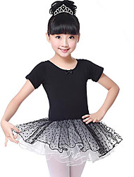 cheap -Ballet Dresses Girls' Training / Performance Cotton Lace Short Sleeve Natural Dress