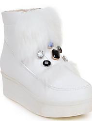 Недорогие -Жен. Обувь Полиуретан Весна Зима Зимние сапоги Ботинки Туфли на танкетке Круглый носок Ботинки Стразы для Белый Черный