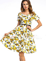 cheap -Women's Vintage Swing Dress - Floral Print Boat Neck