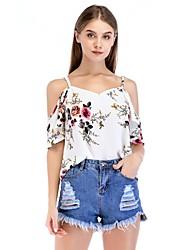 Недорогие -Жен. С принтом Блуза С открытыми плечами Классический Цветочный принт / Лето