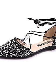 povoljno -Žene Cipele PU Proljeće Ljeto Udobne cipele Sandale Ravna potpetica Krakova Toe Šljokice za Kauzalni Crn Pink