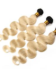 Недорогие -3 комплекта с закрытием Перуанские волосы Волнистый 10A человеческие волосы Remy Омбре One Pack Solution Накладки из натуральных волос Золотистый Блондинка Ткет человеческих волос