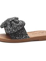 povoljno -Žene Cipele PU Proljeće Ljeto Udobne cipele Papuče i japanke Ravna potpetica Okrugli Toe Mašnica za Kauzalni Crn Pink