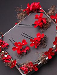 Недорогие -Синтетическое волокно Аксессуары для волос с Кристаллы / Цветы из сатина 1шт Свадьба / Особые случаи Заставка