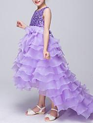 baratos -Menina de Vestido Verão Poliéster Sem Manga Laço Roxo Azul