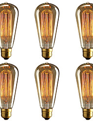 cheap -BRELONG® 6pcs 40W E26 / E27 Yellow 2000-2200k Decorative Incandescent Vintage Edison Light Bulb 220-240V