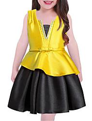 baratos -Menina de Vestido Sólido Primavera/Outono/Inverno/Verão Algodão Poliéster Sem Manga Casual Azul Vermelho Amarelo