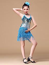 preiswerte -Latein-Tanz Kleider Mädchen Training Leistung Polyester Perlenstickerei Pailetten Quaste Ärmellos Kleid