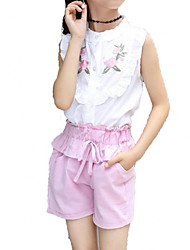cheap -Girls' Daily Holiday Solid Colored Print Clothing Set, Cotton Polyester Summer Short Sleeves Cute Active Blushing Pink Yellow