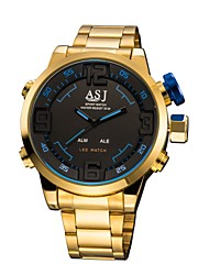 Недорогие -ASJ Муж. Спортивные часы электронные часы Японский Цифровой Нержавеющая сталь Золотистый 50 m Будильник Секундомер Хронометр Аналого-цифровые Мода - Красный Синий Один год Срок службы батареи