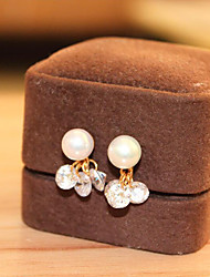 cheap -Clip Earrings - Pearl Drop Simple, Korean, Elegant Silver For Wedding / Gift