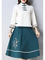povoljno -Žene Vintage Kinezerije Majica - Cvjetni print, Vezeno Suknja