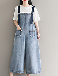 cheap -Women's Street chic Cotton Loose Overalls Pants - Solid Colored High Waist / Summer / Holiday