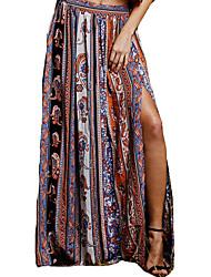 baratos -Mulheres Moda de Rua Evasê Saias - Estampa Colorida