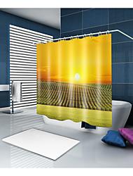 abordables -Rideaux de douche et anneaux Moderne Décontracté Polyester Couleur Pleine Moderne Fabrication à la machine Imperméable Salle de Bain