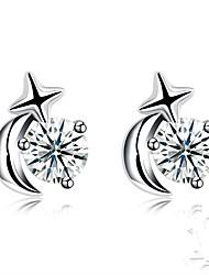 baratos -Mulheres Zircônia Cubica Geométrica Brincos Curtos - S925 Sterling Silver Fashion Prata Para Presente / Diário