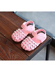 billige -Pige Sko Kunstlæder Forår Sommer Første gåsko Komfort Sandaler for Afslappet Hvid Lilla Lys pink