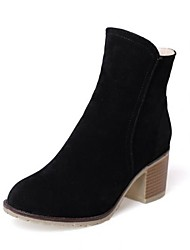 povoljno -Žene Cipele Nubuk koža Jesen Zima Vojničke čizme Čizme Kockasta potpetica Okrugli Toe Čizme gležnjače / do gležnja za Kauzalni Crn Bež