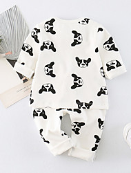 cheap -Unisex Daily Holiday Print Clothing Set, Cotton Spring Summer Half Sleeves Cute White Light Brown