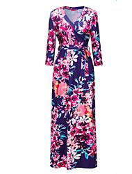abordables -Mujer Festivos Boho Corte Swing Vestido - Estampado, Floral Maxi Escote en Pico / Verano / Patrones florales