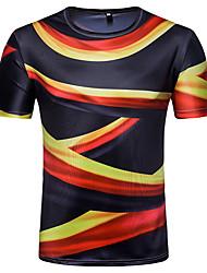 baratos -Homens Camiseta Moda de Rua Estampado, Listrado Estampa Colorida