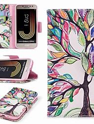 Недорогие -Кейс для Назначение SSamsung Galaxy J7 (2017) J2 PRO 2018 Бумажник для карт Кошелек со стендом Флип С узором Чехол дерево Твердый Кожа PU