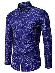 baratos -Homens Camisa Social Estampado, Geométrica