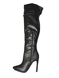 cheap -Women's Shoes PU(Polyurethane) Spring / Winter Fashion Boots Boots Stiletto Heel Pointed Toe Over The Knee Boots Buckle Black / Gray /