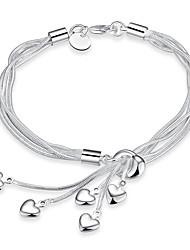 abordables -Cristal Effets superposés Charmes pour Bracelets / Bracelet à Pendentif - Cœur Doux, Mode, Multicouches Bracelet Argent Pour Mariage / Formel