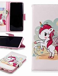 baratos -Capinha Para Samsung Galaxy S9 Plus / S8 Carteira / Porta-Cartão / Com Suporte Capa Proteção Completa Unicórnio Rígida PU Leather para S9 / S8 Plus
