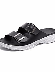 cheap -Women's Shoes PU Summer Comfort Slippers & Flip-Flops Low Heel for Casual White Black