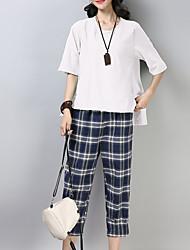 abordables -Mujer Camisa - Un Color / Cuadrícula Pantalón
