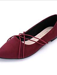 baratos -Mulheres Sapatos Pele Napa / Cashmere Verão Conforto Rasos Sem Salto Dedo Apontado Preto / Azul / Vinho