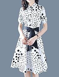 cheap -Women's Street chic / Sophisticated Sheath Dress - Polka Dot Lace up / Print