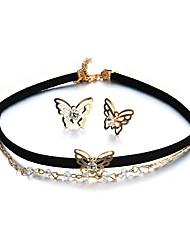 Недорогие -Жен. Бабочка Комплект ювелирных изделий 1 ожерелье / Серьги - Животные / металлический / На каждый день Круглый Цвет радуги Набор