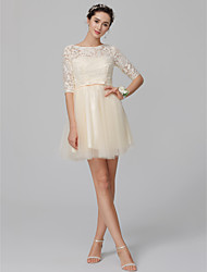 cheap -A-Line Bateau Neck Short / Mini Lace / Tulle Bridesmaid Dress with Bow(s) by LAN TING BRIDE® / Open Back