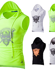 cheap -Men's Drawstring Running Tank Top - Black, Light Grey, Green Sports Skull Hoodie Fitness, Gym, Workout Sleeveless Activewear Breathable, Sweat-wicking, Comfortable Stretchy
