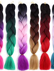 cheap -Braiding Hair Afro / Crochet Jumbo 100% kanekalon hair 2pcs / pack Hair Braids Long Ombre Braiding Hair