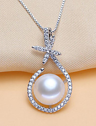 cheap -Women's Cubic Zirconia Pendant Necklace  -  Pearl, S925 Sterling Silver, Freshwater Pearl Flower Fashion, Elegant White, Purple, Pink 40 cm Necklace For Party, Gift