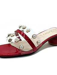 cheap -Women's Shoes PU(Polyurethane) Summer Comfort / Slingback Slippers & Flip-Flops Chunky Heel Black / Beige / Red