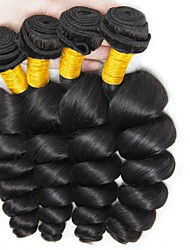 cheap -Peruvian Hair Wavy Natural Color Hair Weaves / Human Hair Extensions 4 Bundles Human Hair Weaves Best Quality / New Arrival / For Black Women Natural Black Human Hair Extensions Women's