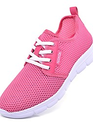 cheap -Women's Shoes Tulle Summer Comfort Sneakers Low Heel Round Toe for Outdoor White / Black / Pink