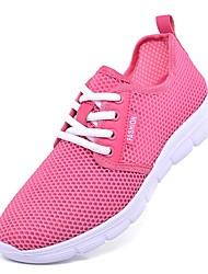 Недорогие -Жен. Обувь Тюль Лето Удобная обувь Кеды На низком каблуке Круглый носок Белый / Черный / Розовый